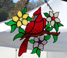 Stained Glass Cardinal Suncatcher - Handcrafted in Tennessee USA by CandJMountainGlass on Etsy