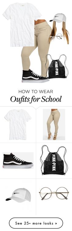 """school girl"" by yonnie99 on Polyvore featuring NIKE, Vans, Madewell, women's clothing, women, female, woman, misses and juniors"