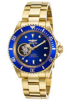 Invicta Watches Men's Pro Diver Auto 18K Gold Plated SS Blue Dial 18K GP SS 20437,    #Invicta,    #20437,    #Diver