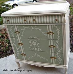 Possible idea to redo the big old dresser I have sitting in the garage. Love the stripes with the bottom half of the dresser. Refurbished Furniture, Paint Furniture, Repurposed Furniture, Shabby Chic Furniture, Furniture Projects, Furniture Makeover, Vintage Furniture, Handmade Furniture, Furniture Decor