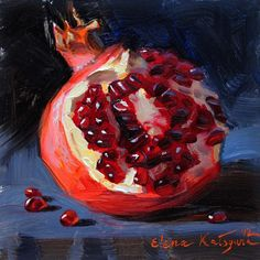 """Pomegranate"" original fine art by Elena Katsyura"