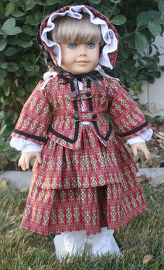 American Girl 1850s Antique Red Ensemble by RuthielovestoSew