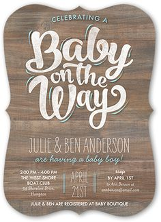 Baby Boy On The Way 5x7 Greeting Card   Baby Shower Invitations