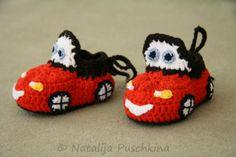 Baby Schuhe Auto - Roter Rennwagen --- €2.70 fur die Anleitung