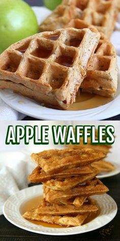 Apple Waffles are perfect for that special morning when you want to have something out of the ordinary. No sugar or eggs but this light and fluffy vegan apple waffles recipe come together in hardly any time at all. Loaded with apple on the inside! #healthyapplewaffles #veganapplewaffles #applewafflesrecipe #easyapplewaffles #applewafflevideos #videos #foodvideos