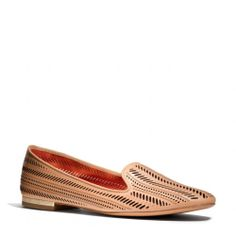 The Cathaleen Flat from Coach  -  i like the tan more, and the way it looks from the top.  might be cool in warmer weather.  perforated leather.     lj