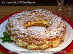 """Corona de Navidad (París Brest relleno de crema de turrón). Este postre en casa lo hemos convertido en una tradición como postre para la cena de Navidad, por eso le llamamos """"Corona de Navidad"""" Receta: https://lacocinadelolidominguez.blogspot.com.es/2017/12/corona-de-navidad-paris-brest-relleno.html     Videoreceta: https://www.youtube.com/watch?v=uzDrpT1W40I"""