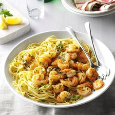 Garlic Lemon Shrimp Recipe -You'll be amazed that you can make this simple, elegant pasta in mere minutes. Serve with crusty bread to soak up all of the garlic lemon sauce. -Athena M. Russell, Florence, South Carolina