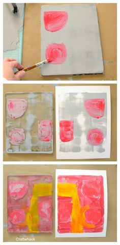 Painting on a gelli plate with paint brush - Gelli plate printing ideas
