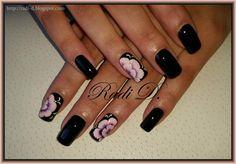 Bluesky gel polish 518 http://radi-d.blogspot.com/2015/06/black-nails-one-stroke-flowers.html