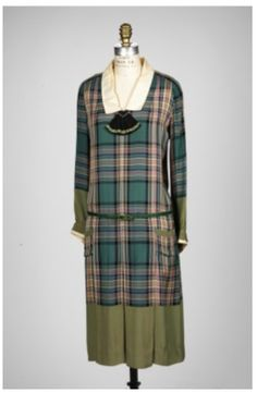 Robe Jean Patou ca. 1926, Silk or rayon plain weave with cotton plain-weave trim;