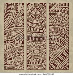 Illustration of Abstract vector hand drawn vintage ethnic pattern card set. Part 1 vector art, clipart and stock vectors. Card Patterns, Embroidery Patterns, Pattern Art, Pattern Design, Dibujos Zentangle Art, Mexican Pattern, Indian Folk Art, Ethnic Patterns, Mandala Drawing