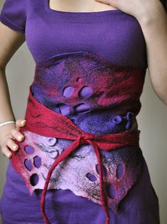 Felted Wrap Wool Belt Scarf OOAK