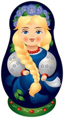 Matryoshka doll with the plait