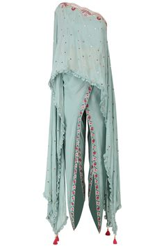 Monika Nidhii Frost Blue One Shoulder Embroidered Cape with Dhoti Pants Set