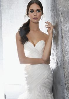 b468e7f4a7 Fitted organza gown available in Stripe or solid-  Illusion Neckline Dress