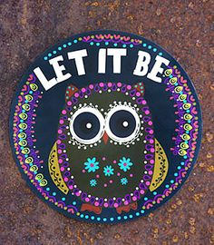 """Let It Be"" owl car magnet -- $7.50 @ Junk Gypsy Co."