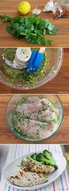 "Chimichurri Chicken -- I'll use this dressing on my vegetarian tofu ""chicken"" slices Tofu Chicken, Yum Yum Chicken, Baked Chicken, Chicken Slices, Great Recipes, Dinner Recipes, Favorite Recipes, Turkey Recipes, Chicken Recipes"