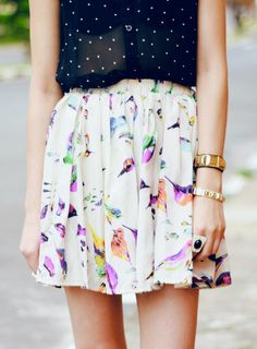 """Mix romantic florals with polka dots to achieve a less """"girly girl"""" look."""