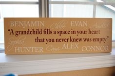 Personalized Family Name Sign Grandparent Quote Sign with names- Perfect Gift Idea - ETS-23. $35.00, via Etsy.