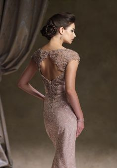 Lace Bateau Sheath Vintage Long Mother of The Bride Dress with Cap Sleeves
