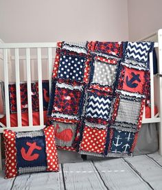 Nautical Crib Bedding For Baby Boys Nursery in Red, Grey, Navy Blue - Crib Bedding - A Vision to Remember
