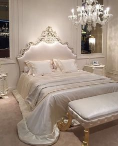 The design of the bed is also important for the bedroom. The bed with unique details will help you to put less effort into the room decorations. Dream Rooms, Dream Bedroom, White Bedroom, Sparkly Bedroom, Rich Girl Bedroom, Royal Bedroom, Bedroom Inspo, Bedroom Decor, Bedroom Ideas