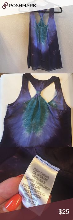 100% silk, lined, Akiko tie-dyed tank top Soft, elegant flowy blue green tank top that cinches in the back. Perfect layered under a blazer, or paired with pants and stilettos for a cocktail party. Can be worn dressy or casual because silk is timeless. In good pre-owned condition. Dryclean only. akiko Tops Tank Tops