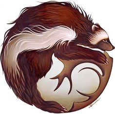 Wolverine Mandala (The Devil Bear) by Nathalie Parenteau kp Wolverine Animal, Wolverine Art, Spirit Animal Tattoo, Animal Tattoos, Paw Tattoos, Wolverine Tattoo, Twilight, Native American Artists, Animal Totems
