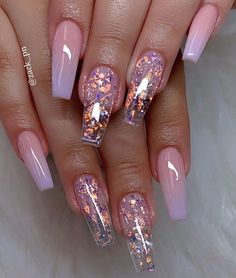 cute acrylic nails 40 Fabulous Nail Designs That Are Totally in Season Right Now - nail art designs,almond nail art design, acrylic nail art, short nail designs with glitter Nail Design Glitter, Cute Acrylic Nail Designs, Best Acrylic Nails, Acrylic Nail Art, Clear Nail Designs, Pink Nail Designs, Clear Nails With Glitter, Glitter Ombre Nails, Coffin Nail Designs
