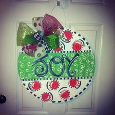 Wooden Christmas Door Hanger by GirlyGirlMomma on Etsy, $40.00