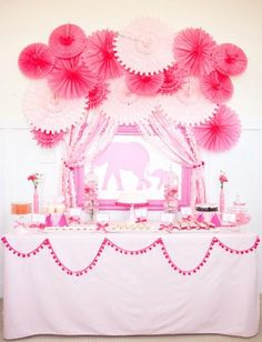 Adorable pink elephant theme baby shower or children's party idea Fiesta Shower, Shower Party, Baby Shower Parties, Baby Shower Themes, Baby Shower Decorations, Shower Ideas, Bridal Shower, Elephant Decorations, Birthday Decorations