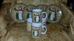 """VINTAGE """"Country Snowman"""" Collection by Susan Winget  (set of 4 lunch plates and 4 mugs) by NookHook on Etsy"""