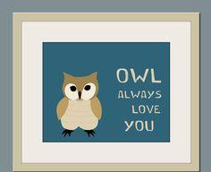 Owl nursery art print forest animals prints Owl nursery by Wallfry, $22.00