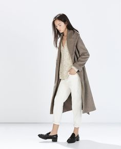 Image 1 of WOOL COAT WITH BELT from Zara