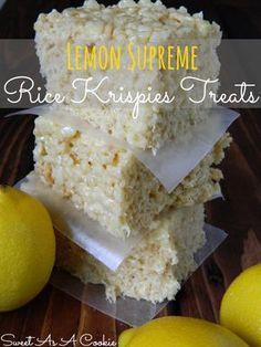 Lemon Supreme Rice Kripsies Treats   A delicious rice krispies treat jam packed with lemon flavor www.sweetasacookie.com #lemon #ricekrispie...
