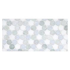 Complete Tile Collection Mosaic Tile Patterns, Penny Rounds Mosaic, MI#: 039-S2-400-230, Color: Marine Blend - Azul Celeste, Ming Green, Thassos