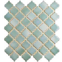 Merola Tile Hudson Tangier Mint Green 12 x 12 x Porcelain Mosaic Tile sq. Best Floor Tiles, Bathroom Floor Tiles, Tile Bathrooms, Downstairs Bathroom, Bathroom Cabinets, Master Bathroom, Mosaic Glass, Mosaic Tiles, Mosaic Art
