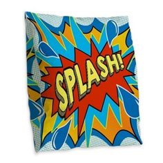 Comic Style Splash! Shower curtain Burlap Throw Pi