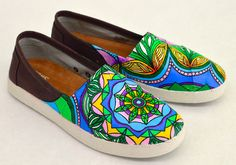 Custom Hand Painted Mandala Mauve Coated Canvas Avalon Slip On Toms - Baha'i Symbol Pattern