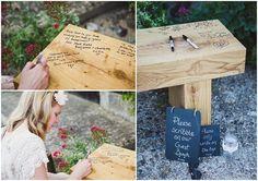 Garden bench wedding guest book alternative by Lola Rose Photography via Boho Weddings | The Pink Bride www.thepinkbride.com