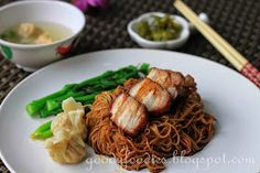 GoodyFoodies: Recipe: Dry Wonton Noodles (Konlo Wantan Mee) with Homemade Char Siu