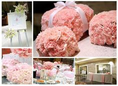 Carnations are perfect to make these cute pink parcel centrepieces