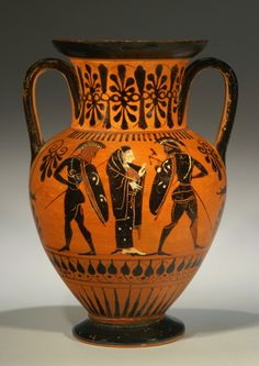 ATTIC BLACK-FIGURE AMPHORA  A draped female between two warriors; possibly the capture of Helen. Rev: Warrior battles an Amazon; possibly Herakles and Andromache. Thighs of Amazon and central body of draped male at right are restored.   Ca. 500 BC