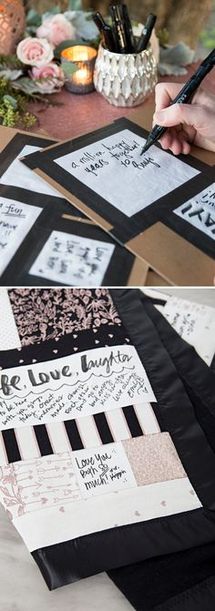 In this post we show you step by step how to create an amazing guest book quilt. From cutting the squares, to having your guests sign, to sewing the quilt together. Quilt Guest Books, Guest Book Table, Photo Guest Book, Book Quilt, Diy Guest Books, Wedding Guest Quilt, Jenga Wedding Guest Book, Wedding Book, Diy Wedding