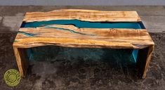 Double waterfall live edge river coffee table with glowing image 5