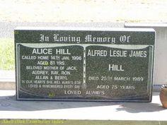 Australian Cemeteries Index - Inscription 9762249 - Alfred Leslie James Hill