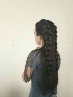 Long Hair with Two Braids Two Braids, Dutch Braids, Braids Long Hair, Pretty Hairstyles, Hairstyle Ideas, Braided Hairstyles For Long Hair, Wedding Hairstyles, Saree Hairstyles, Quinceanera Hairstyles
