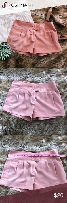 Pink dressy shorts small Pink dressy shorts small. A pair of pink shorts. Can be dressed up or worn casually. Soft fabric. Size small with approximate measurements shown. Forever 21 Shorts