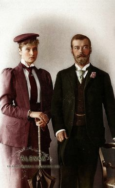 The last Imperial couple of Russia - Alexandra and Nicholas, at the time of their engagement in 1894.